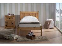 """SINGLE WOODEN OAK BED + 6"""" MEMORY FOAM MATTRESS + QUALITY DUVET + 2 PILLOWS"""