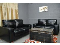 EX DISPLAY ARGOS ETON 2+2 PREMIUM LEATHER SOFAS