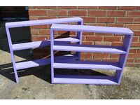 Homemade Purple Shelving Units x2