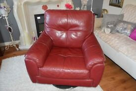 RED LEATHER SWIVEL ARMCHAIR