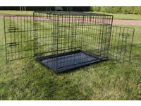 Dog / pet crate - good condition - 2 doors, removable base tray foldable - 75cm X 52cmx 58 cm High
