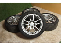 """Genuine Mitsubishi EVO 17"""" Alloy wheels & Winter tyres 5x114.3 JDM Alloys Civic Type R EP3"""
