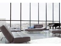 Ligne Roset Smala adjustable leather sofa bed (white) Excellent Condition
