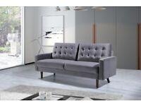 💥 Stylish Furniture- BRAND NEW 3 & 2 SEATER PLUSH VELVET GREY & CREAM COLOR MAZZ SOFA SET