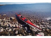 SOLD! Island Expedition Fiberglass sea kayak with paddle, spray deck and compass SOLD