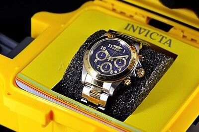 Invicta 17028 Speedway Tachymeter 40mm 2-Tone Chronograph Blue Dial SS Watch NEW