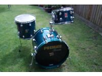 Premier Genista Turquoise drum shell pack - Leicester - '90s - Birch - Vintage & rare