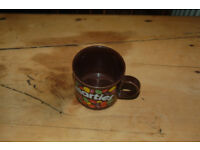 Vintage retro Hornsea brown smarties mug and Cadburys square chocolate mug