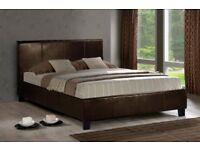 Limited Offer !! Double Leather Bed Frame With Mattress -- Order Now -- Same Day Cash On Delivery
