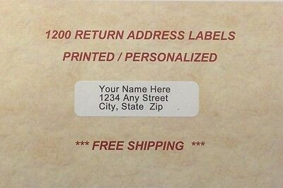 1200 - Personalized Return Address Labels Printed In Ink Color Of Your Choice