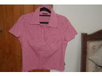 4 shirts 1 Benneton white, 1 beige 1 Jigsaw brown, 1 Sisley red check size 14/L
