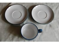 M & S Hamilton Pattern Cup and 2 Saucers to 'Near Match' Denby Azure, in Pristine Condition.