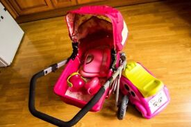 Girls toy bundle, push along car, pram for dools, computer...