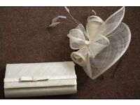 Ivory fascinator and matching clutch