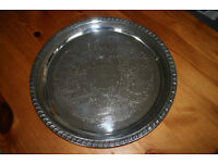 Silver plated engraved serving tray