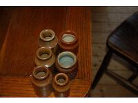 6 Stoneware vintage small jars.