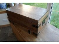 wooden pine chest trunk with metal banding