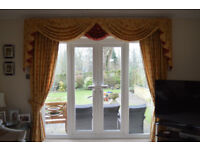 2 pairs of lovely lounge curtains with swags and tails, pelmets, all hooks etc.