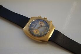 Winegartens manual mechanical chronograph wristwatch - Swiss - '70s. Gold plated