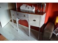 Hepplewhite style sideboard, hall table, bow fronted console, serpentine server, c.1940, distressed.