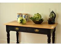Victorian table kitchen country desk rustic antique black pine vintage retro laptop desk console