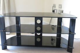 Black Glass and Chrome TV stand Black Monday Bargain