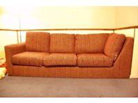 Three person maroon sofa