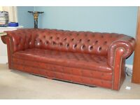 Chesterfield 1950s Antique leather 4 seaters 7ft maroon leather TWO CHESTERFIELDS ONE ARMCHAIR