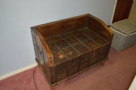 Vintage wooden blanket box, storage trunk, antique trunk