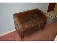 Vintage wooden blanket box, storage trunk, antique trunk