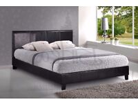Black leather maybe faux leather bed frame