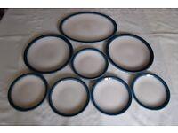 Wedgwood Blue Pacific Plates & Cruet/Condiment Set, Very Good Condition