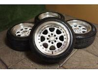 "15"" Alloy wheels 4x100 & 4x108 Eunos MX5 Clio Corsa Saxo C2 Civic Stance JDM Deep Dish Alloys"