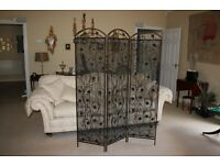SCREEN ROOM DIVIDER METAL SCROLL ORNATE WITH SHEER FABRIC FROM FRANCE BEAUTIFUL