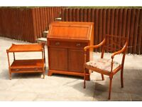 YEW WOOD WRITING BUREAU DESK +CHAIR +TABLE QUALITY ENGLISH FURNITURE