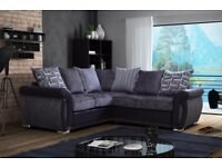 *COME AND VIEW IT ,TRY IT THEN BUY IT* BRAND NEW SHANNON CORNER SOFA SUITE BLACK AND GREY