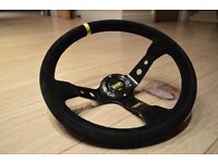 Universal 350mm OMP Deep Dish Sport Racing Drift Steering Wheel EVO SUBARU HONDA CIVIC TYPE R EP3