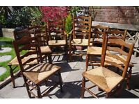 19th cent. LINCOLNSHIRE LADDER BACK CHAIRS x 6 plus 2 CARVERS