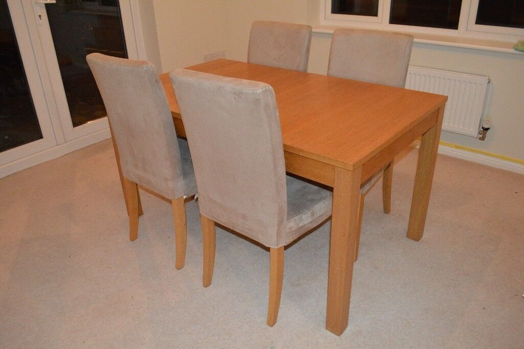 Ikea Bjursta Extendable Dining Room Table 4 Hendriksdal Chairs