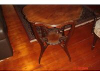 Beautiful antique scallop edge solod wood arnate ocasional side table