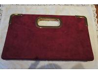 Dune Fushia pink 100% leather suede handbag clutch bag with shoulder strap
