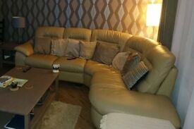 Leather Corner Sofa & Storage Footstool