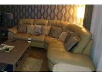 Leather Corner Sofa & Storage Footstool
