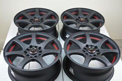 """4 New DDR ZK15 17x7.5 5x100/114.3 35mm Matt Black Red Undercut 17"""" Wheels Rims"""