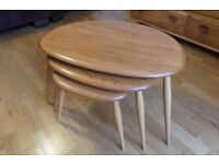 GOLD LABEL VINTAGE RETRO MID CENTURY ERCOL PEBBLE COFFEE TABLE SET
