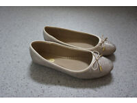 Gold sparkly ballerina shoes by Dune size 7
