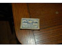 Vintage De Witts pill box & Wils empty cigarette box