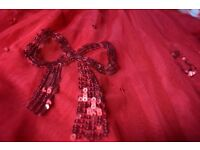 Pretty red party dress with sequined bows - Age 6