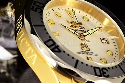 Invicta Grand Diver 300M Mother Of Pearl Dial GP Case Two Tone Bracelet Watch (Case Two Tone Watch)