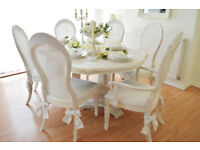*** WOW *** !!! GREAT SUMMER DEAL !!! French Antique Shabby Chic Dining Table & Six Chairs with Bows